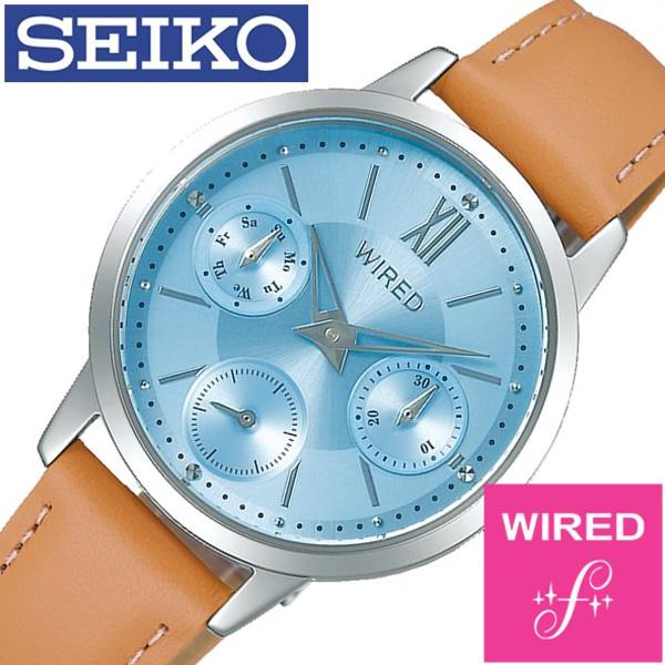 セイコー腕時計 SEIKO時計 SEIKO 腕時計 セイコー 時計 ワイアード エフ WIRED f レディース ライトブルー AGET407 [ 正規品 人気 ブランド プレゼント ギフト ビジネス 革 レザー ベルト ペアウォッチ カレンダー]