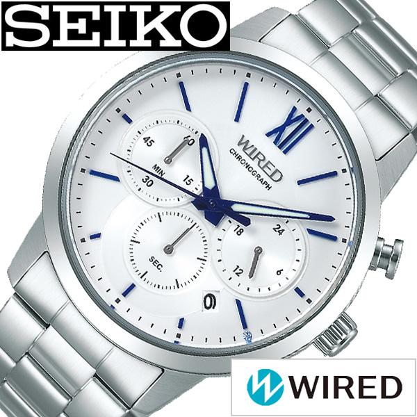 セイコー腕時計 SEIKO 腕時計 セイコー 時計 ワイアード 祝成人限定 WIRED メンズ ホワイト AGAT722 [ 正規品 ブランド 限定 成人式 ビジネス スタンダード スーツ シンプル ラウンド カジュアル クロノグラフ シルバー ブルー プレゼント ギフト]