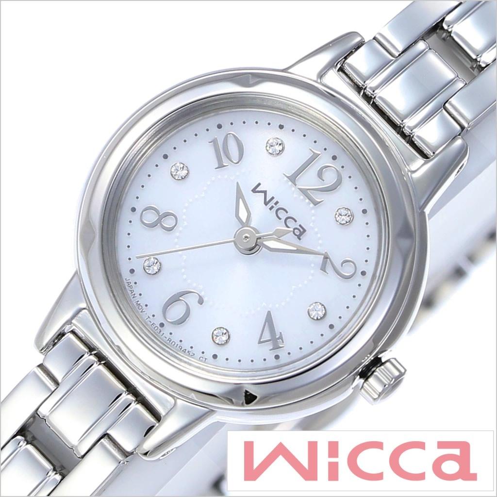 [あす楽]シチズン腕時計 CITIZEN時計 CITIZEN 腕時計 シチズン 時計 ウィッカ Wicca レディース ホワイト KH9-914-15 [メタル ベルト 正規品 ソーラー テック シルバー クリスタル ストーン シンプル E031]
