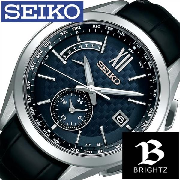 セイコー腕時計 SEIKO時計 SEIKO 腕時計 セイコー 時計 ブライツ BRIGHTZ メンズ SAGA251 [ 正規品 定番 華やか ビジネス オフィス カジュアル カレンダー 革 レザー ラウンド ソーラー 電波時計 ブラック プレゼント ギフト ]