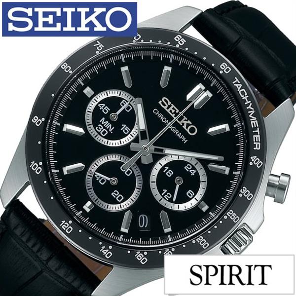 セイコー腕時計 SEIKO時計 SEIKO 腕時計 セイコー 時計 スピリット SPIRIT メンズ ブラック SBTR021 [ 正規品 定番 スポーツウォッチ クロノグラフ バーインデックス スーツ ビジネス 革 レザー ブランド プレゼント ギフト ]