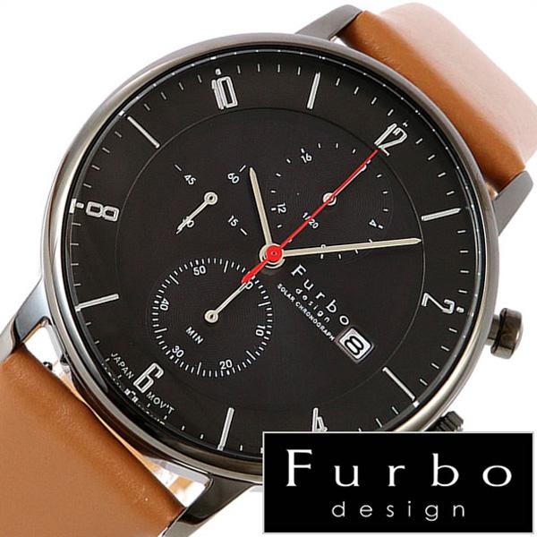 フルボデザイン腕時計 Furbo design 腕時計 フルボ デザイン 時計 メンズ ブラック F761-GBKLB[ 正規品 イタリア スタイル 人気 定番 スーツ ビジネス フォーマル デザイン レザー クロノグラフ (電池交換不要) ソーラー ブラウン プレゼント ギフト おしゃれ ブランド ]