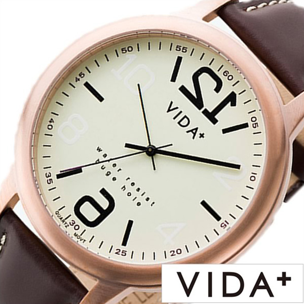 [あす楽]ヴィーダプラス時計 VIDA+腕時計 VIDA+ 腕時計 ヴィーダ プラス 時計 ヒュージホール HugeHole メンズ 男性 向け 夫 彼氏 夫 アイボリー VD-45905-BRN [ 正規品 ビーダ ブランド 革ベルト レザー ビックフェイス ピンクゴールド ブラウン プレゼント ]