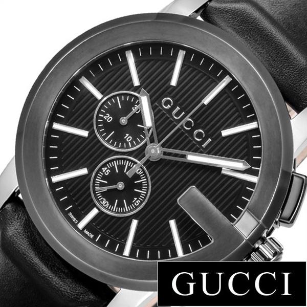 グッチ腕時計 GUCCI時計 GUCCI 腕時計 グッチ 時計 Gクロノ G-CHRONO メンズ ブラック YA101205[ペアウォッチ ブランド 高級 クロノグラフ 革 レザー 防水 おすすめ リクルート 就活 名入れ おしゃれ ]