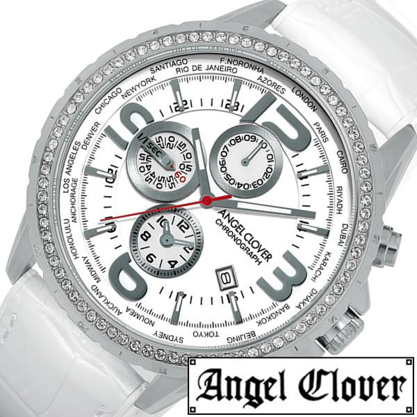 エンジェルクローバー 腕時計 AngelClover時計 Angel Clover 腕時計 エンジェル クローバー 時計 モンド MOND メンズ ホワイト MO44SWH-WH [ 正規品 人気 ファッション ビジネス クロノグラフ ワールドタイム 革 レザー 彼氏 プレゼント ギフト 送料無料]