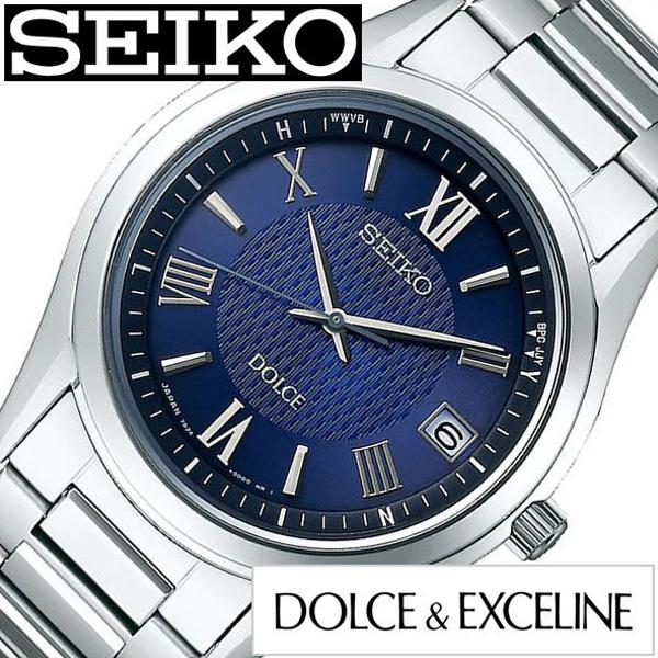 SEIKO DOLCE&EXCELINE セイコー ドルチェ&エクセリーヌ腕時計 時計 メンズ ネイビー SADZ197 [ 正規品 定番 人気 ラウンド シンプル ステンレス ソーラー 電波時計 ペア おそろい 革 レザー シルバー プレゼント ギフト][送料無料]