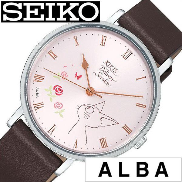 セイコー腕時計 SEIKO時計 SEIKO 腕時計 セイコー 時計 アルバ ALBA レディース ピンク ホワイト ACCK416 [ 正規品 ブランド キャラクター ジブリ 魔女の宅急便 魔女宅 ジジ キキ 猫 ネコ ねこ かわいい 花柄 レザー 革ベルト ] 冬
