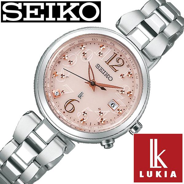 セイコー ルキア 腕時計 レディース ソーラー 電波 セイコールキア腕時計 SEIKOLUKIA時計 SEIKO LUKIA 腕時計 ルキア時計 ピンク SSQV047 [ ダイヤ プレゼント ギフト シンプル ラウンド カレンダー ビジネス ファッション カジュアル かわいい ]