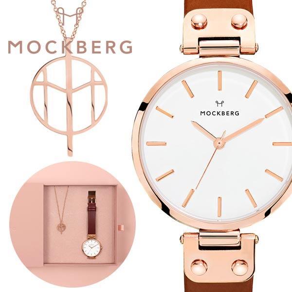 [当日出荷] \安心の正規品 ネックレスと腕時計ギフトセット/モックバーグ腕時計 MOCKBERG時計 MOCKBERG 腕時計 モックバーグ 時計 レディース ホワイト MO109SET-N [ 北欧 おしゃれ 革ベルト イニシャル かわいい ブラウン ピンクゴールド プレゼント ギフト ] PT10