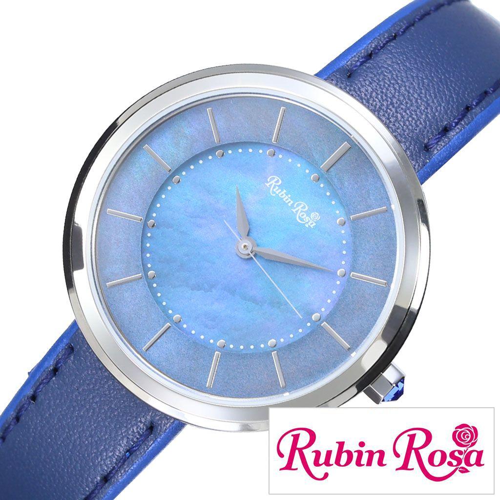 ルビンローザ腕時計 RubinRosa時計 Rubin Rosa 腕時計 ルビン ローザ 時計 R060 ブルー R060SBLBL [ 正規品 新作 ブランド 防水 メタル レザー ラウンド ソーラー シェル スワロフスキー アクセサリー 就活 おしゃれ かわいい プレゼント ギフト ]PT10