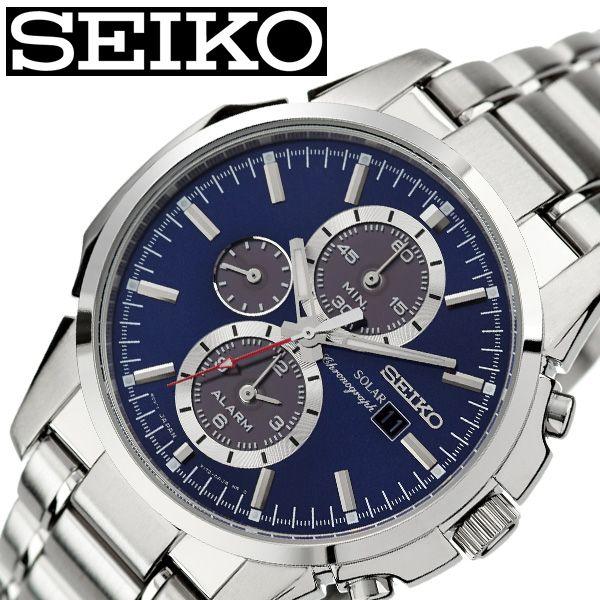 セイコー腕時計 SEIKO時計 SEIKO 腕時計 セイコー 時計 メンズ ブルー SSC085P1 [ ブランド 防水 ソーラー ステンレスベルト カレンダー クロノグラフ 限定 スーツ 仕事 時計 彼氏 かっこいい 男らしい 上品 プレゼント ギフト ]