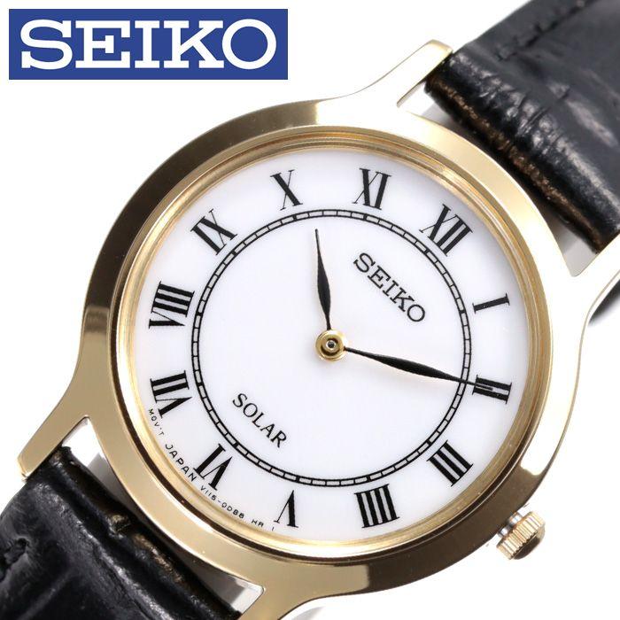 [当日出荷] (電池交換不要)セイコー腕時計 SEIKO時計 SEIKO 腕時計 セイコー 時計 レディース 白 SUP304P1 [ ブランド 防水 革ベルト レザー ソーラー かわいい 小さめ 海外 限定 アンティーク レトロ おしゃれ ローマ数字 プレゼント ] PT10