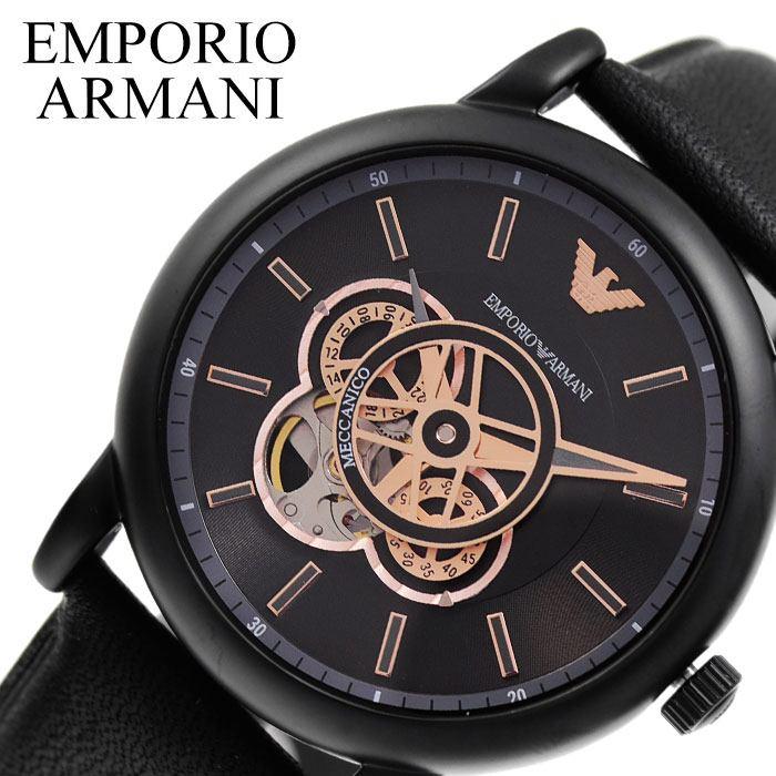 【SALE】(10%OFF) 割引 セール 安い エンポリ 腕時計 就活 時計 メンズ EMPORIO ARMANI 腕時計 エンポリオ アルマーニ 時計 メカニコ Meccanico ブラック AR60012 [ ブランド おしゃれ ビジネス 自動巻 機械式 スケルトン プレゼント ギフト ]