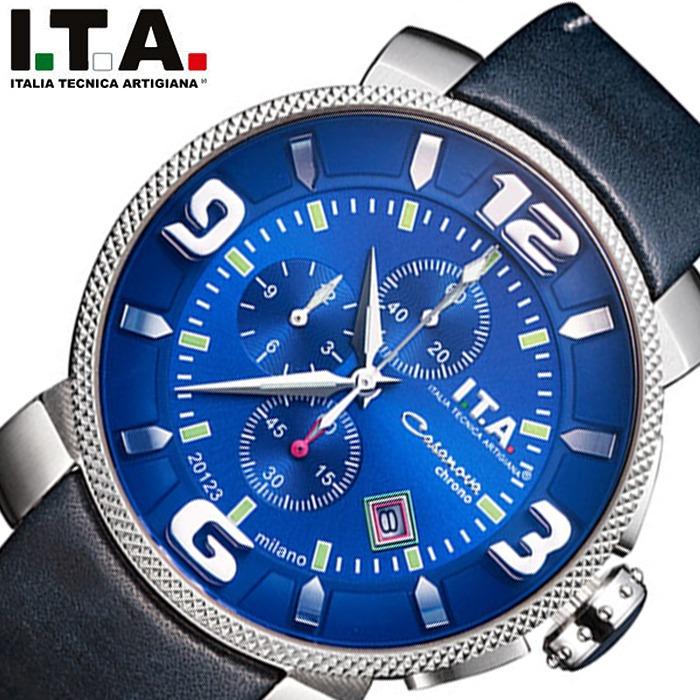 [当日出荷] アイティーエー腕時計 I.T.A.時計 I.T.A. 腕時計 アイティーエー 時計 カサノバ クロノ Casanova Chrono メンズ ブルー 12-70-20 [ 正規品 クロノグラフ イタリア ブランド ファション ウォッチ レザー 革ベルト ジャケット プレゼント ギフト ]