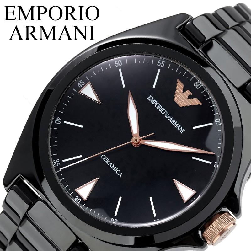 【SALE】(10%OFF) 割引 セール 安い アルマーニ腕時計 EMPORIO ARMANI 腕時計 エンポリオ アルマーニ 時計 セラミカ CERAMICA メンズ お父さん ブラック AR70003 [ ブランド シンプル おしゃれ 仕事 黒 ピンクゴールド 彼氏 男性 プレゼント ギフト]