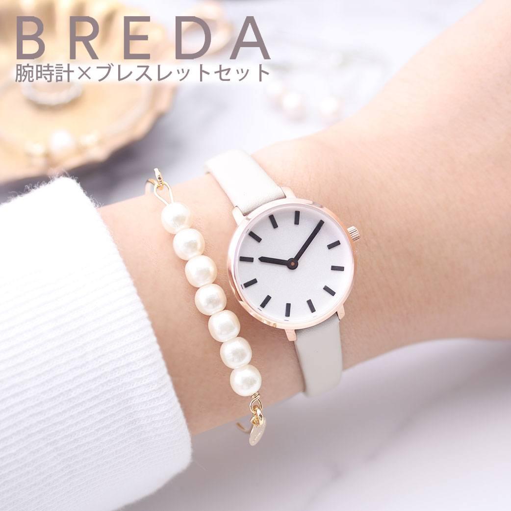 (当店限定 ブレスレット セット) 華奢 小さい 腕時計 レディース アンティーク おしゃれ 女性 30代 防水 ブランド ブレダ腕時計 BREDA時計 BREDA ブレダ 時計 ビバリー BEVERLY [ 正規品 レザー 革ベルト プレゼント ギフト ] PT10