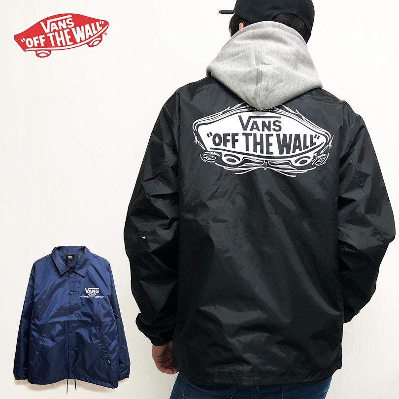 コーチジャケット コーチJKT VANS バンズ 送料無料 OFF THE WALL 長袖 重ね着 レイヤード ロゴ トップス スケート ストリート メンズ レディース ビッグ