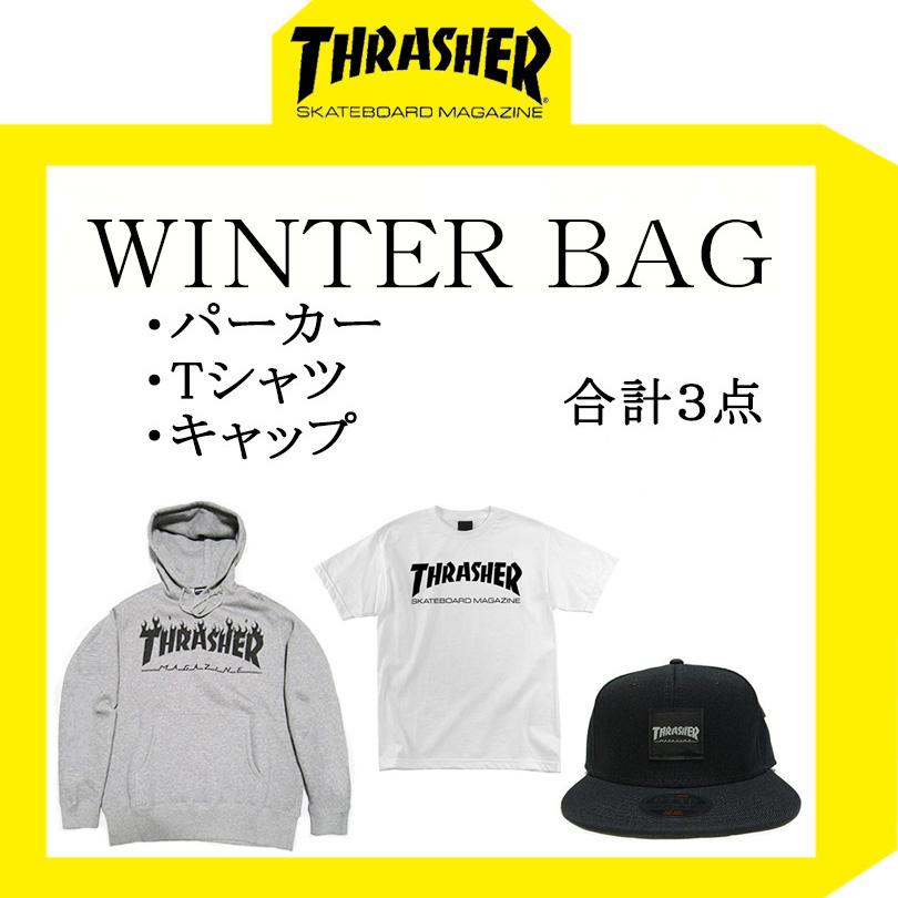 【送料無料】 THRASHER スラッシャー 福袋 ハッピーバッグ ウィンターバッグ 2019 パーカー キャップ Tシャツ マグ フレイム フレーム