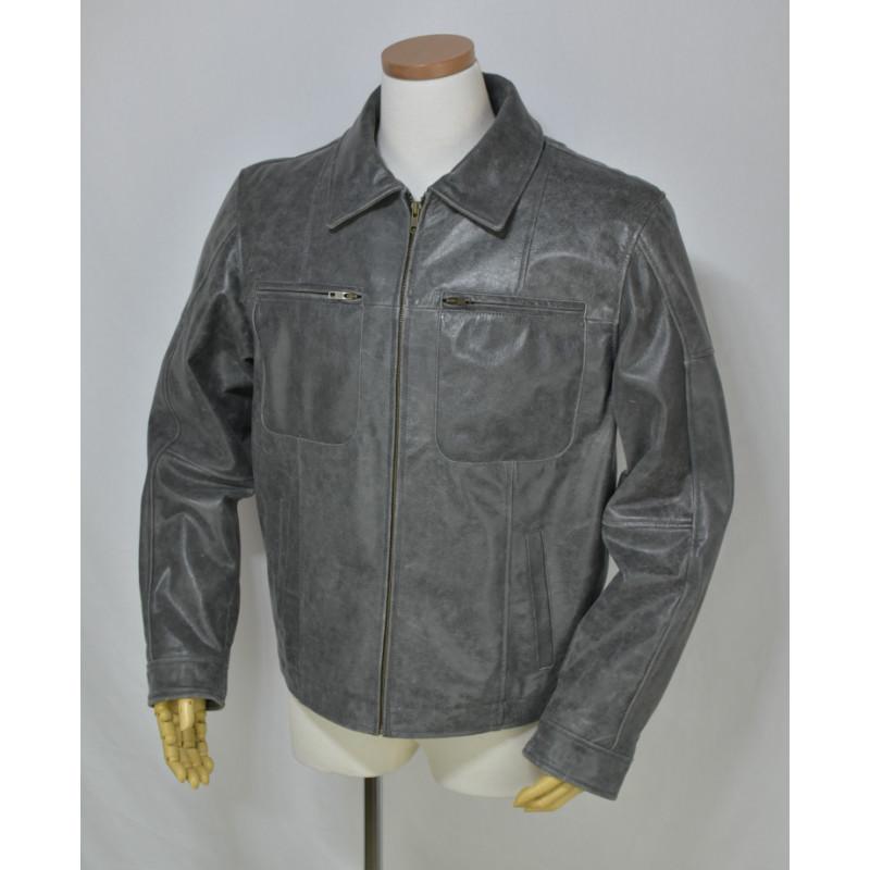 ヴィンテージ加工Buffalo Leatherジャケット【新品】サンプル品グレー・メンズ返品不可