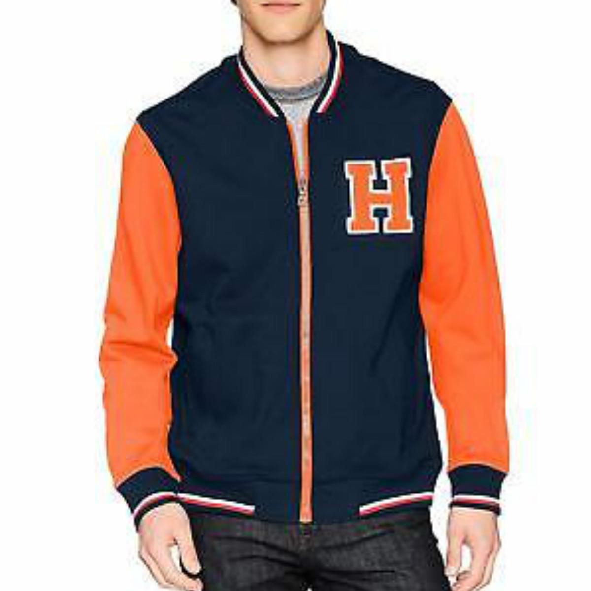 TOMMY HILFIGER メンズ トミーフィルフィガートラックジャケットオレンジ・ネイビー