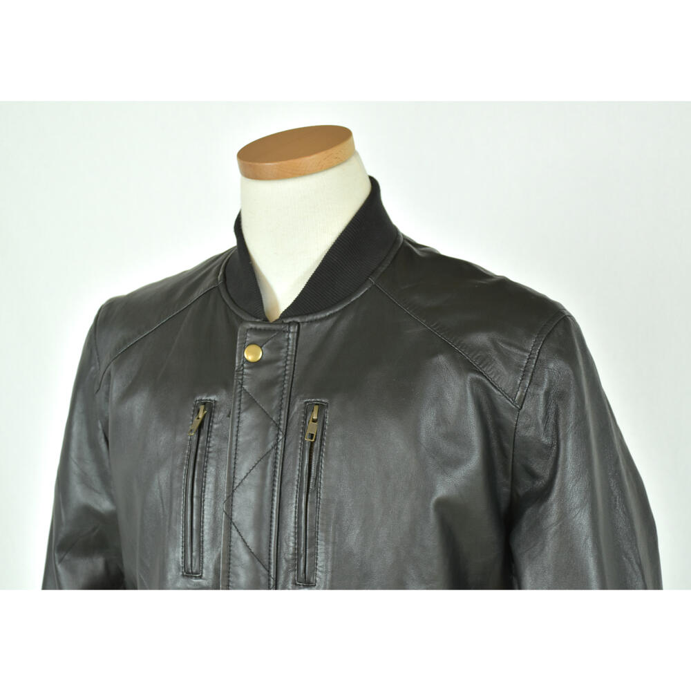 Sheepskin Leather Bomberジャケット・メンズシ-プスキンボンバージャケット・ブラック