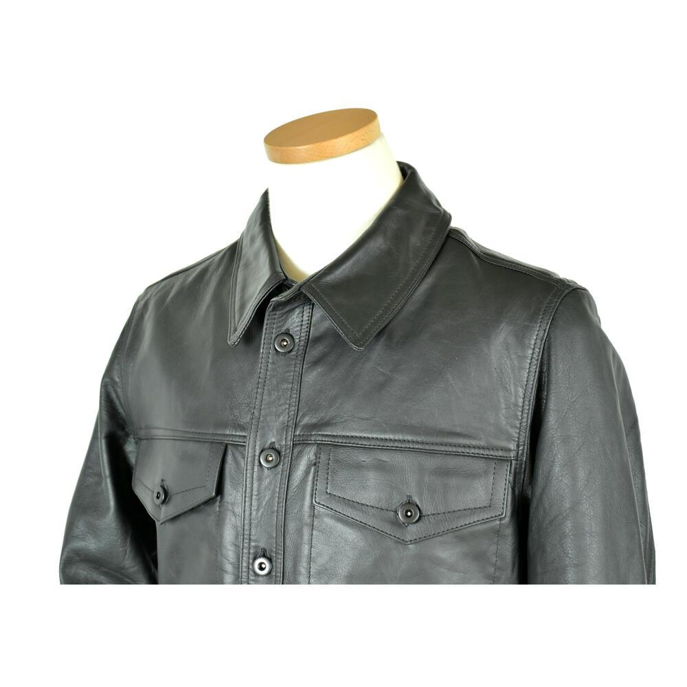 Napa Cowhide Leatherシャツジャケットメンズ・ブラック