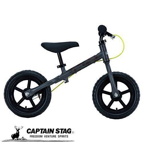 キャプテンスタッグキッズ用ランニングバイクペダルなし自転車ブレーキ付トレーニングバイク18グレーカモフラージューキャンプアウトCAMPOUT