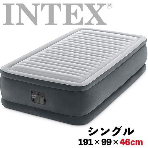 おすすめ インテックス 人気海外一番 intex エアーベッド エアベット シングル 来客用 アウトドア キャンプ インフレータブルマット シングルサイズ 簡易ベッド マットレス INTEX 電動式 グレー ツインコンフォート 191×99×46cm 64411