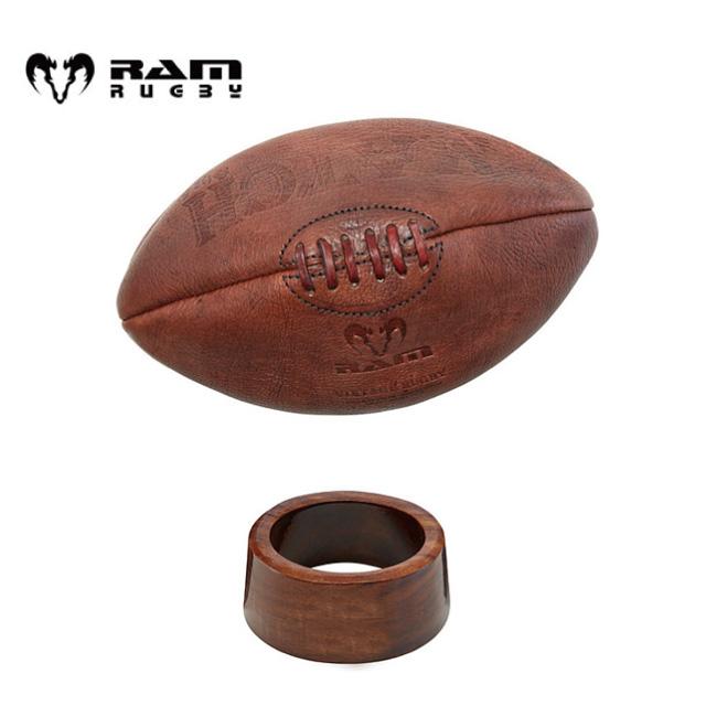 【RAM】 ラム ヴィンテージ ラグビーボール 木製ボール台セット キックティー クラシック アンティーク インテリア 【レザー】