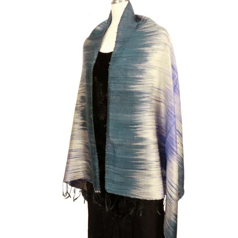 タイシルク 絣織りショール 手織り ストール 絹100% 母の日 父の日ギフト 誕生日プレゼント 送料無料