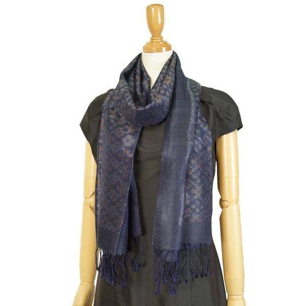 ストール タイシルク マッドミー 絣織り メンズストール グレーを帯びた濃い紺 父の日ギフト 誕生日プレゼント 送料無料