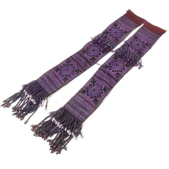 タイ 少数民族 モン族の手刺繍 前掛け 部分 長片2連(フリンジつき) 古布 ネコポス対応