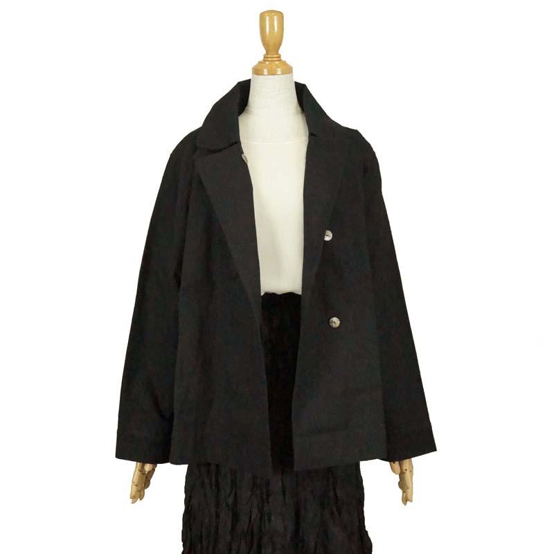 カジュアルな大人の一重ジャケット きちんと感もあるダブルブレスト 超歓迎された ジャケット 特価キャンペーン コットン100% 黒 天然繊維 ナチュラル ゆったり 冬物 60代 50代 きゃらファッションオリジナル 40代 70代 フリーサイズ 秋物