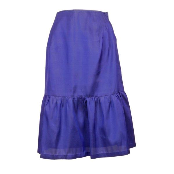 きゃら(Cara) オリジナル タイシルク 裾ギャザー切り替え Aラインスカート ロイヤルブルー 青系無地 結婚式 パーティー フォーマル 送料無料