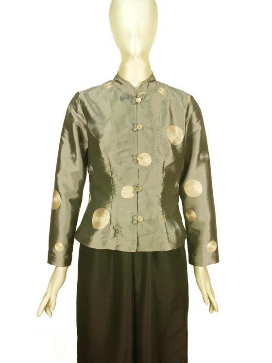 きゃら(Cara) アオザイブラウス 刺繍 シルク混 長袖 グレー系 M&Lサイズ