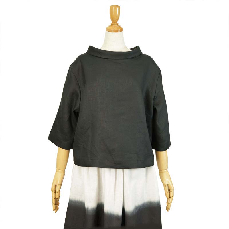 ブラウス ロールカラー リネン100% 五分袖 黒 M/Lきゃら ファッション オリジナル