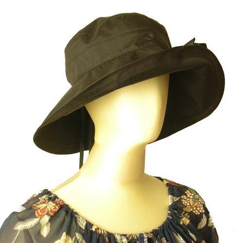 ハット シルクキャプリーヌ ブラック タイシルク100% 帽子 シルクのコサージュつき 40代 50代 60代 70代 ミセス シニア フォーマル 送料無料きゃら ファッション オリジナル