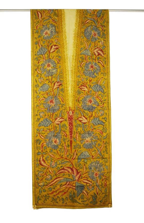 オールドバティック ジャワ更紗 スレンダー スカーフ 胸当ての布 タペストリー トゥリス(手描き) ロウケツ染め布 古布 送料無料