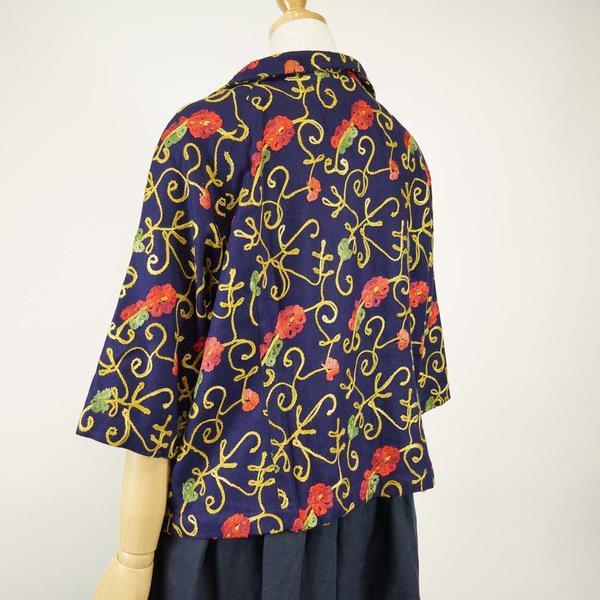 きゃら Caraオリジナル カシミール刺繍のブラウス 濃紺 LQdhrts