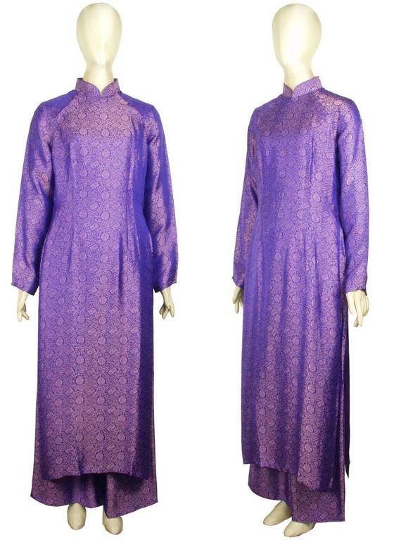 ≪値下げしました≫シルクアオザイ 共布パンツつき M/Lサイズ ベトナム製 送料無料きゃら ファッション オリジナル