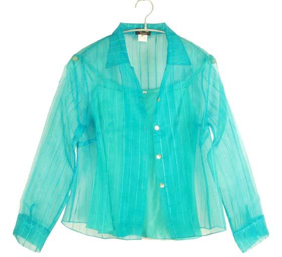 ブラウス タンクトップつき シルクオーガンジー ブルー系 ミセス シニア 40代 50代 60代 70代 送料無料きゃら ファッション オリジナルDY29HIWE