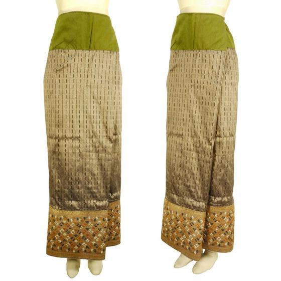 ラオス 浮き織り シルク 「シン」筒スカート オールド 古布 ゴールド・シルバー系