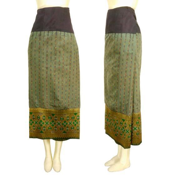 ラオス 浮き織り シルク 「シン」筒スカート オールド 古布 グリーン系