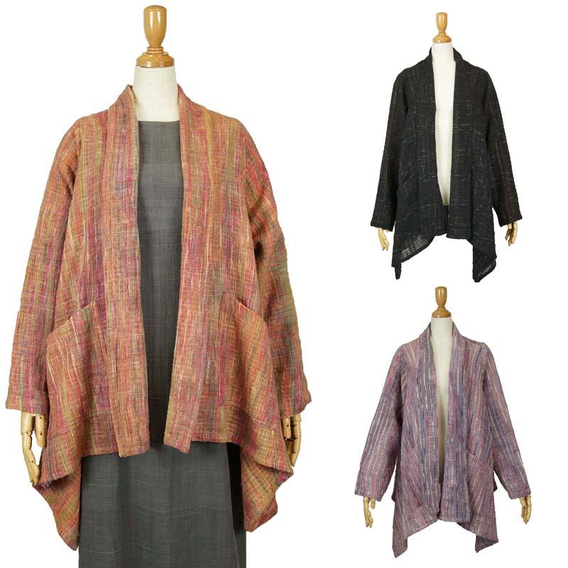 ブラウス 羽織り 手織り綿 コットン100% ナチュラル ゆったり フリーサイズ 40代 50代 60代 70代 ミセスファッション シニア 母の日ギフト 誕生日プレゼント 敬老の日 祖母きゃら ファッション オリジナル