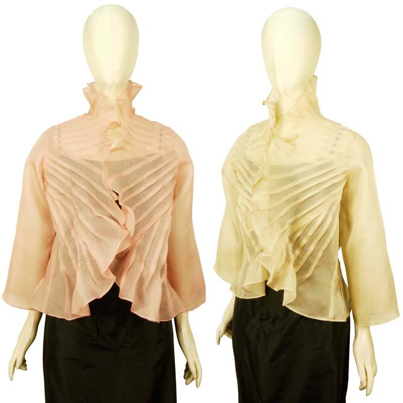 ボレロ シルクオーガンジー ピンタック タイシルク100% 羽織りブラウス 長袖 無地 フォーマル 結婚式 ミセス シニア 50代 60代 70代 送料無料きゃら ファッション オリジナル