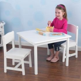 【送料無料】【KidKraft キッドクラフト】アスペンテーブルセット(ホワイト / 2人用) 子供用テーブル&チェア2脚 木製