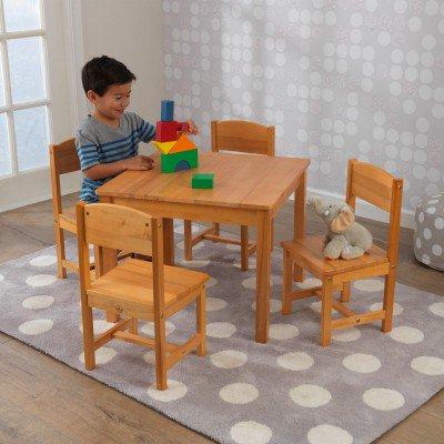 【送料無料】【KidKraft キッドクラフト】ファームハウステーブルセット(ナチュラル / 4人用) 子供用テーブル&チェア4脚 木製子供家具