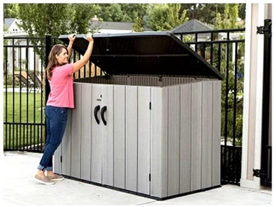 送料無料【LIFETIMEライフタイム】ホリゾンタル 屋外収納ボックス組立て式 大型物置/倉庫(樹脂製)自転車2台