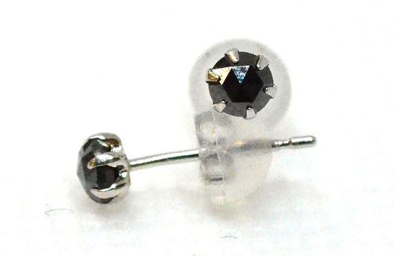 【送料無料】【当店ポイント5倍】ブラックダイヤモンド ピアスPt900 プラチナ 0.2ct ローズカット 6本爪タイプ 巾着付き