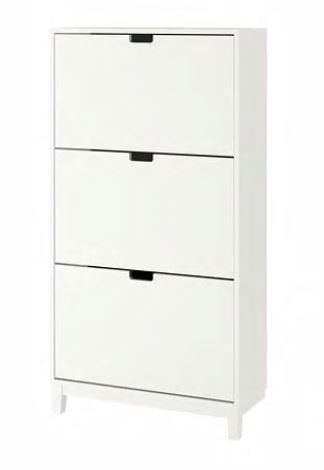 【送料無料】【IKEA イケア】STÄLL ステル STALL靴収納用キャビネット 3コンパートメント ホワイトシューズボックス